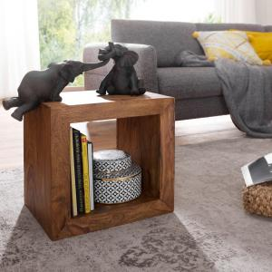 Standregal MUMBAI Massivholz Sheesham 44cm hoch Cube Regal Design Holzregal Naturprodukt Beistelltisch Landhausstil